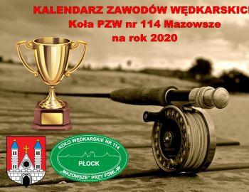 """KALENDARZ ZAWODÓW WĘDKARSKICH KOŁA PZW NR 114 """"MAZOWSZE"""" na rok 2020"""